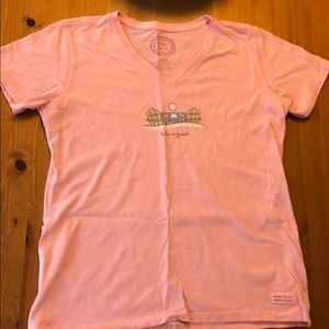 Title 9 Life is Good pink short-sleeve V neck tee
